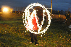 The WordPress logo made with light
